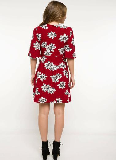 DeFacto Çiçekli Elbise Kırmızı